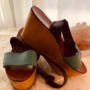Tory Burxh modern wooden & leather wedges